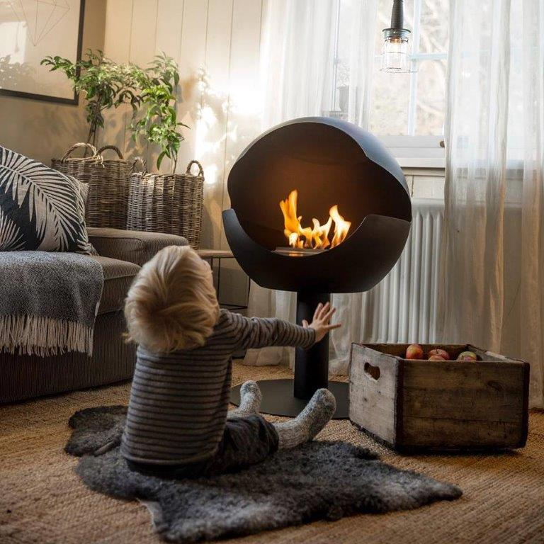 cheminee globe+ noir vauni design
