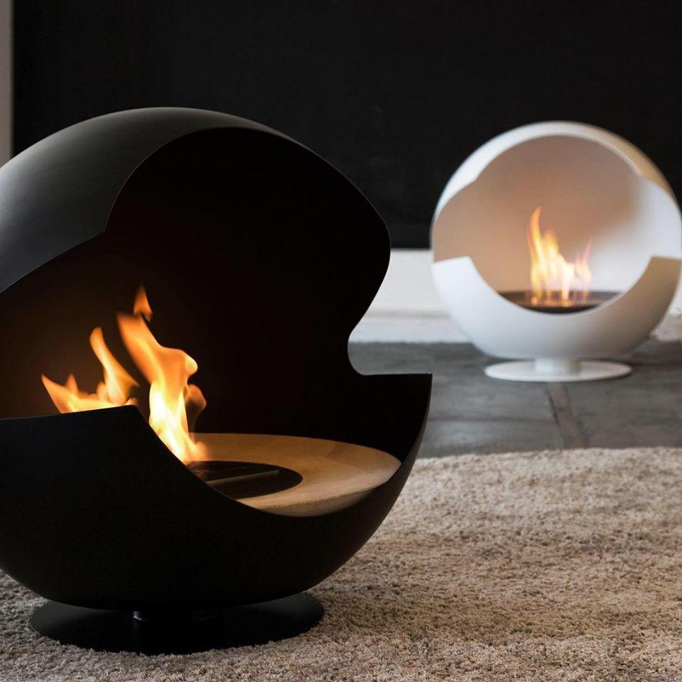 cheminee à poser design vauni globe pied bas